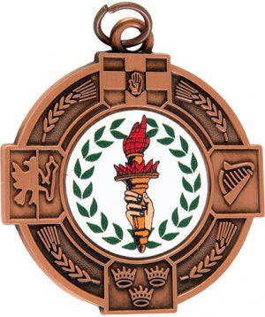 bronze medal, torch