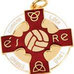 red, gold gaelic football, hurling medal, award, coin