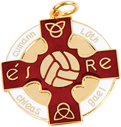 red, gold gaelic football, hurling medal, award, coin