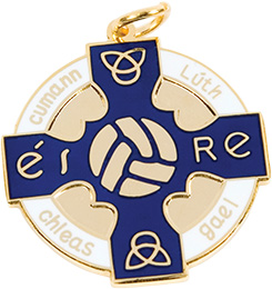 blue, gold gaelic football, hurling, medal, coin, award
