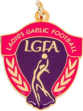 gaelic football, women's medal, pink, purple