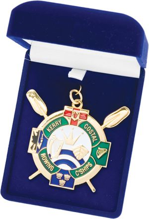 blue box, medal, rowing club coin, award