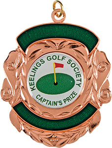 bronze shield medal, golf society medal, rose gold