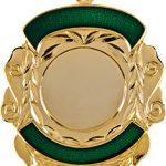 gold shield medal, green trim