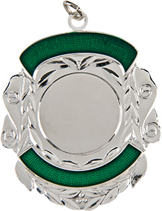 silver shield medal, green