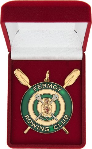 rowing club award coin, red medal box