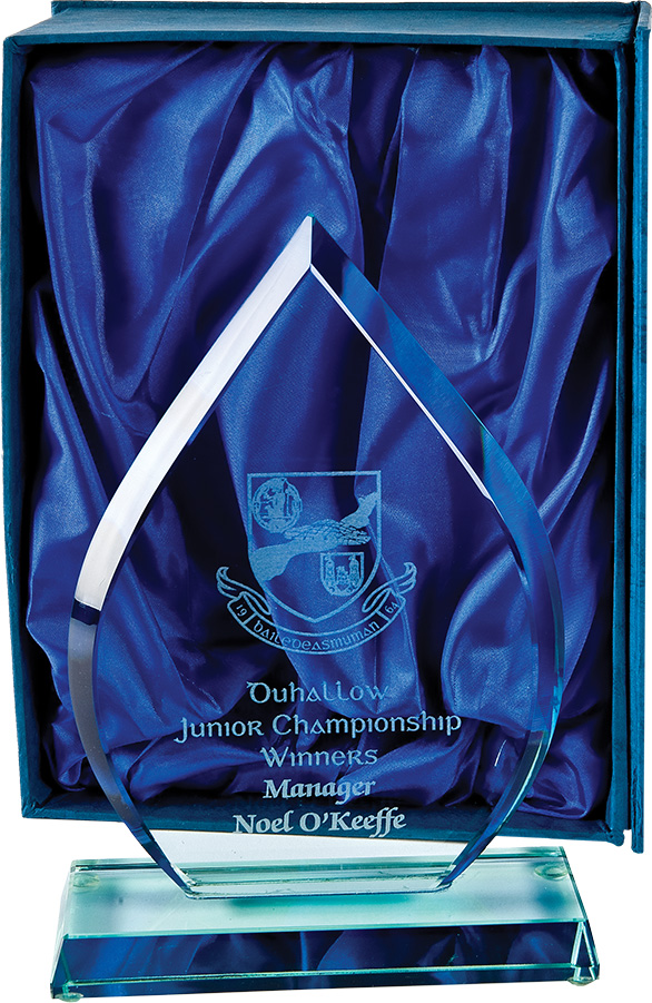 teardrop shape award, glass trophy