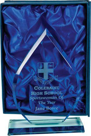 teardrop shape glass award, trophy