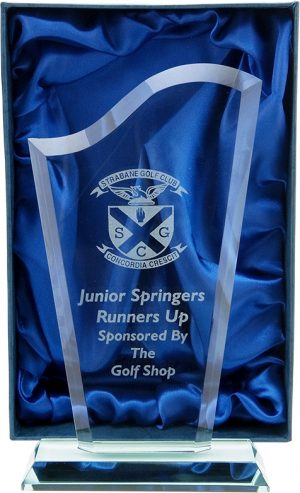 golf award, glass trophy