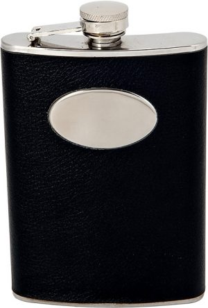 black and silver hip flask