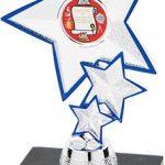 silver star with blue trim, trophy