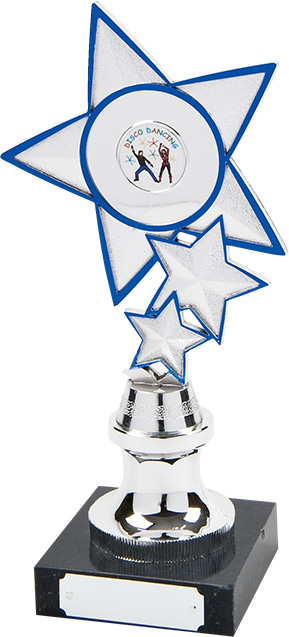 silver star, blue trim, trophy