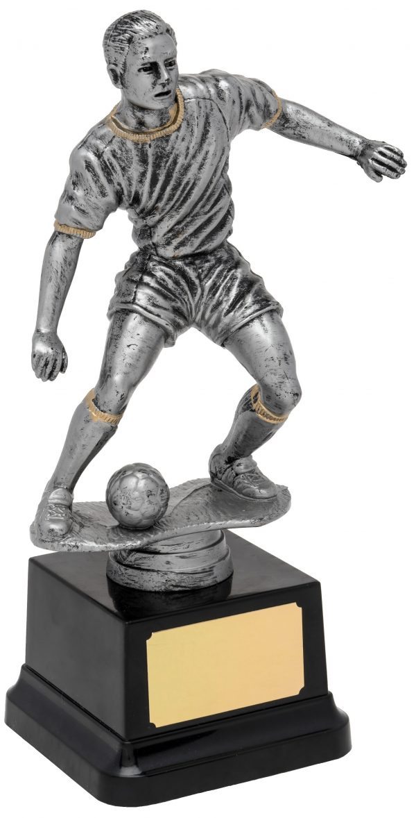silver soccer player trophy, football
