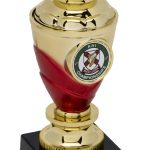 gold and red trophy, bowl