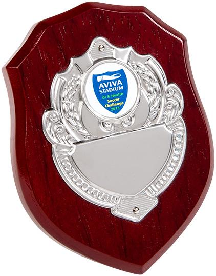 wood shield, silver shield plaque