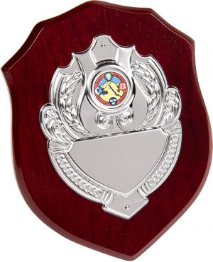 wood shield plaque, silver