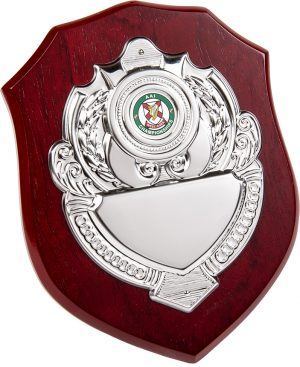 wood plaque, silver shield