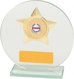 round glass award, gold star