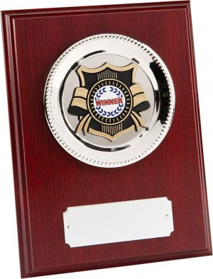 wood plaque rectangle, silver plate, gold shield award