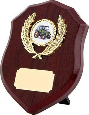 wood shield award, plaque, tractor