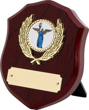 wood shield plaque, award