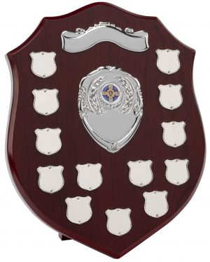 wood shield, mini shields, silver
