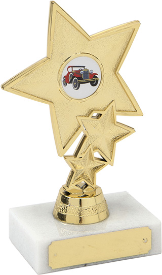 gold star trophy, car award, marble base