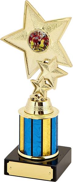 gold star trophy, blue, yellow, black