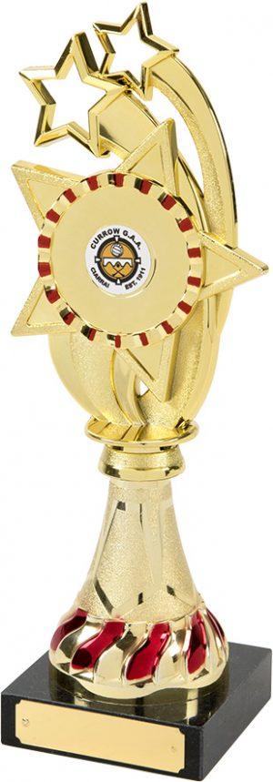 shooting star trophy, red, gold