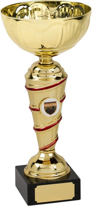 red and gold bowl trophy