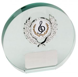 round glass plaque, music