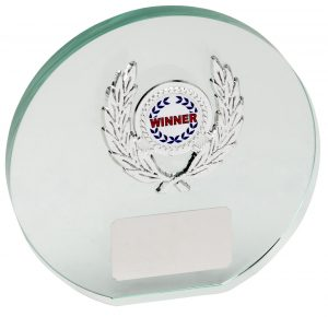 glass round award, plaque