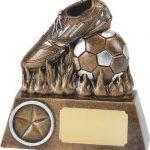 soccer boot and ball, bronze, football