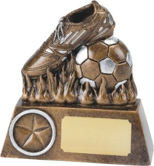 soccer boot and ball, bronze, football