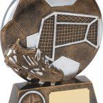 bronze soccer trophy, ball, net, boot