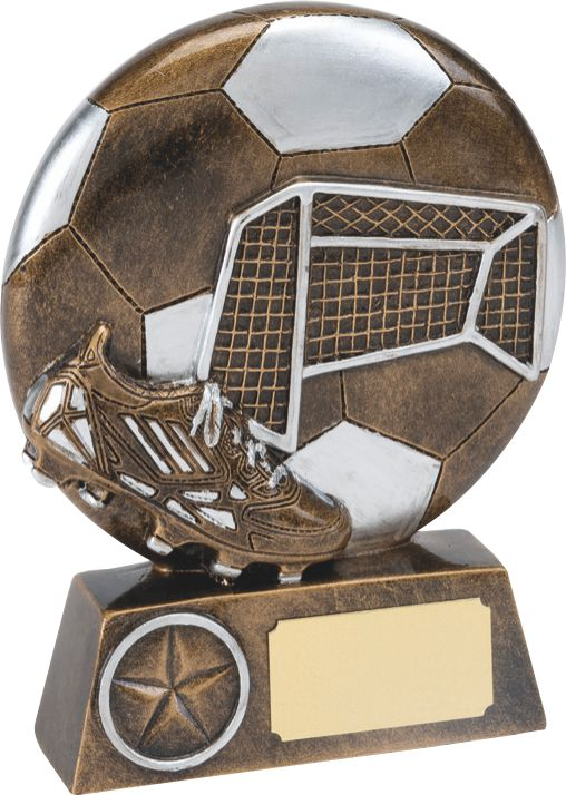 bronze soccer trophy, ball, net, boot