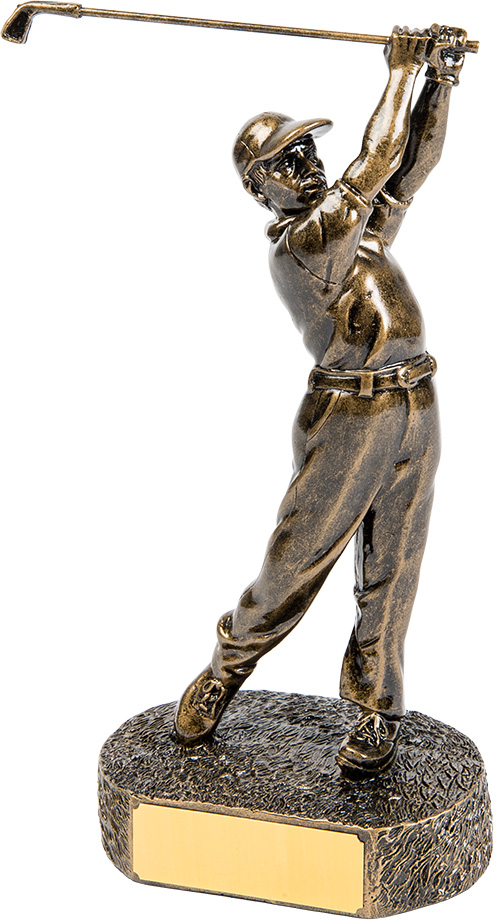 male golfer trophy, bronze
