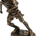 bronze soccer player, football, running