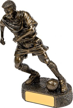 bronze soccer player, football, running