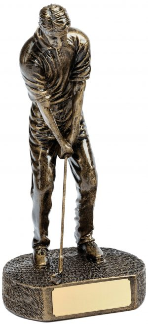 bronze male golfer, putting trophy