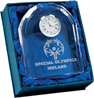 special olympics engraved award, glass