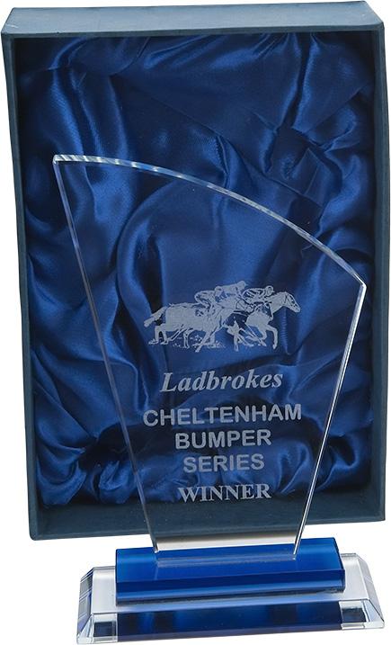 glass award, plaque, horse racing