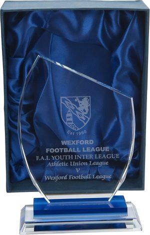asymmetrical award, glass, plaque