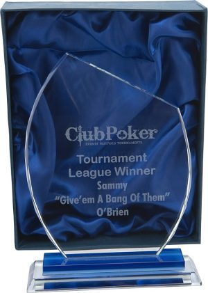 Poker club award, glass award