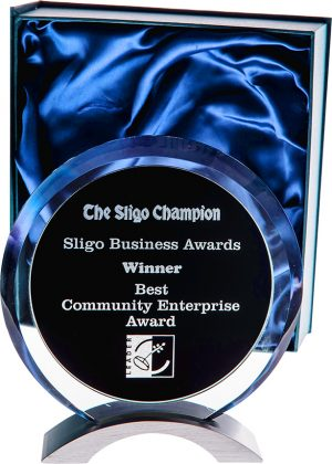 glass award, plaque, black and silver