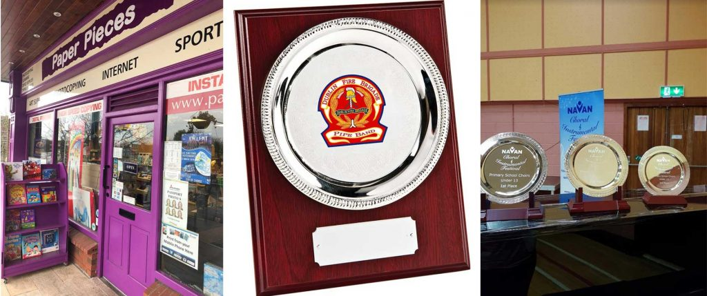 Paper Pieces store front, silver plate plaque, round award